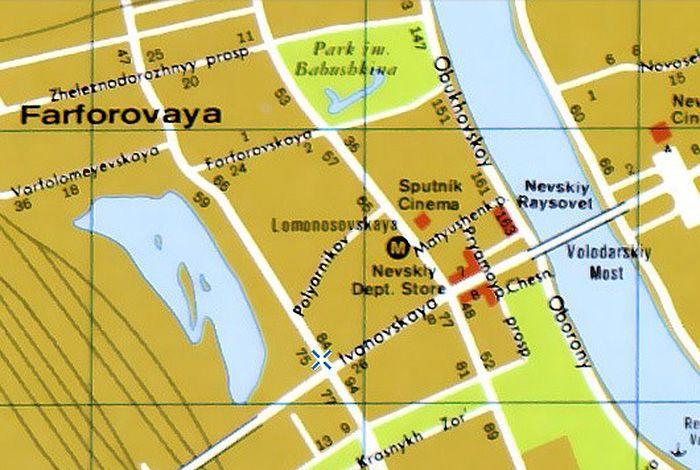 Карта улиц Ленинграда издания ЦРУ 1977 г. (www.oldsp.ru)